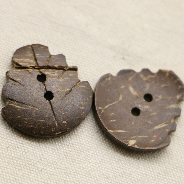 Coconut Leaf Buttons 2 Holes Buttons 25mm  10pcs
