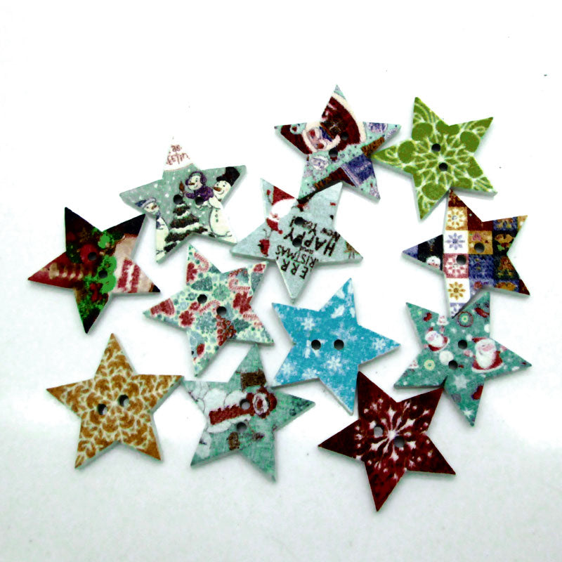 Star Wooden  Mixed Color 2 holes Buttons 23x23mm 50pcs