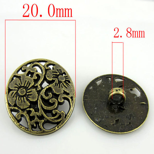Bronze Tone Metal Shanked Buttons 20mm 20Pcs