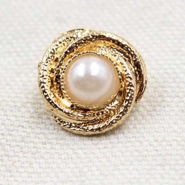 """Bai""  Metal and Pearl  17mm 10pcs"