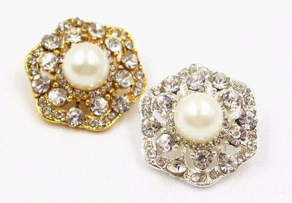 """Sammi"" Craft Rhinestone and Pearl Button 21mm 1 pcs"