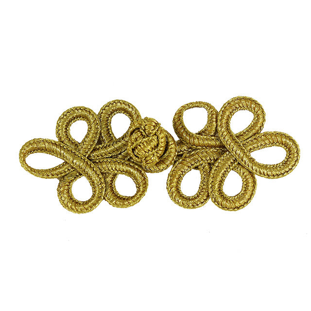 Gold Metallic Cord Fastener Closure Knot Buttons  32mm*80mm 10set
