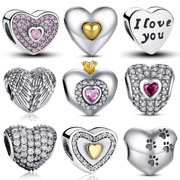 Silver Heart Shape Charm Beads