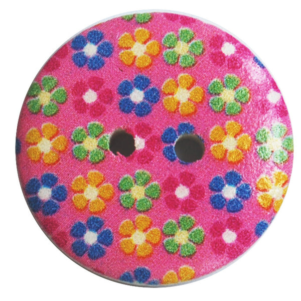 Random Mixed color print 23mm Round Wood Buttons (10pack)