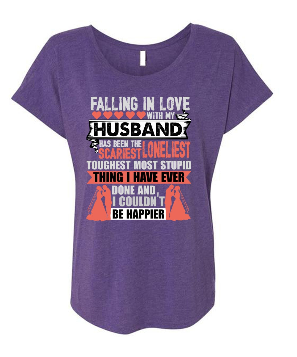 Falling In Love With My Husband T Shirt I Couldnt Be Happier T