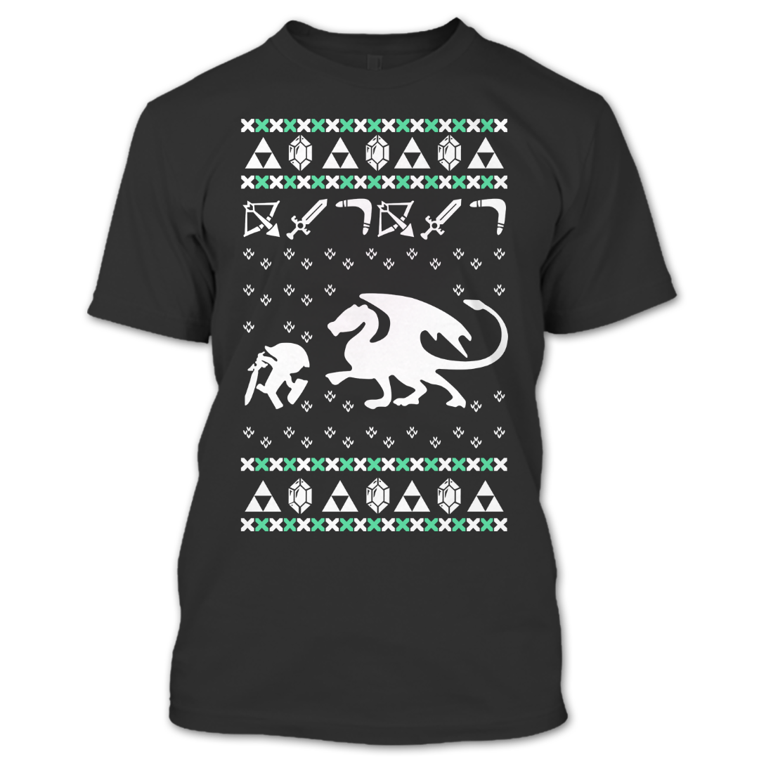 a black t shirt with the shopify logo - Legend Of Zelda Christmas Sweater