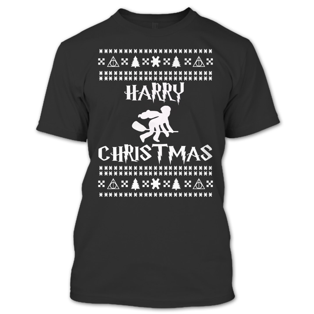 harry potter t shirt ugly christmas sweater t shirt a black t shirt with the shopify logo - Harry Potter Ugly Christmas Sweater