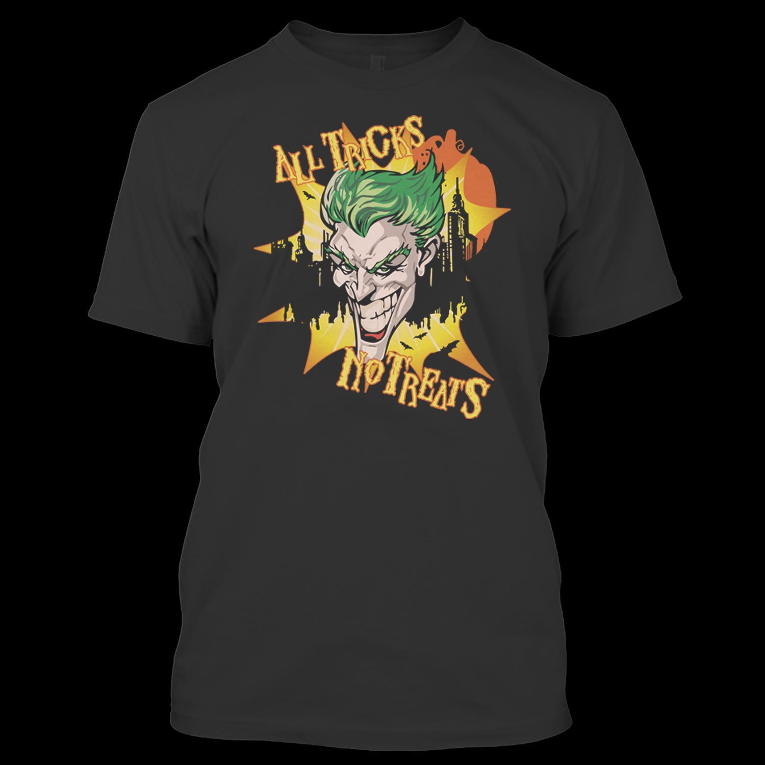 batman the joker all tricks no treats dc comics halloween t shirt