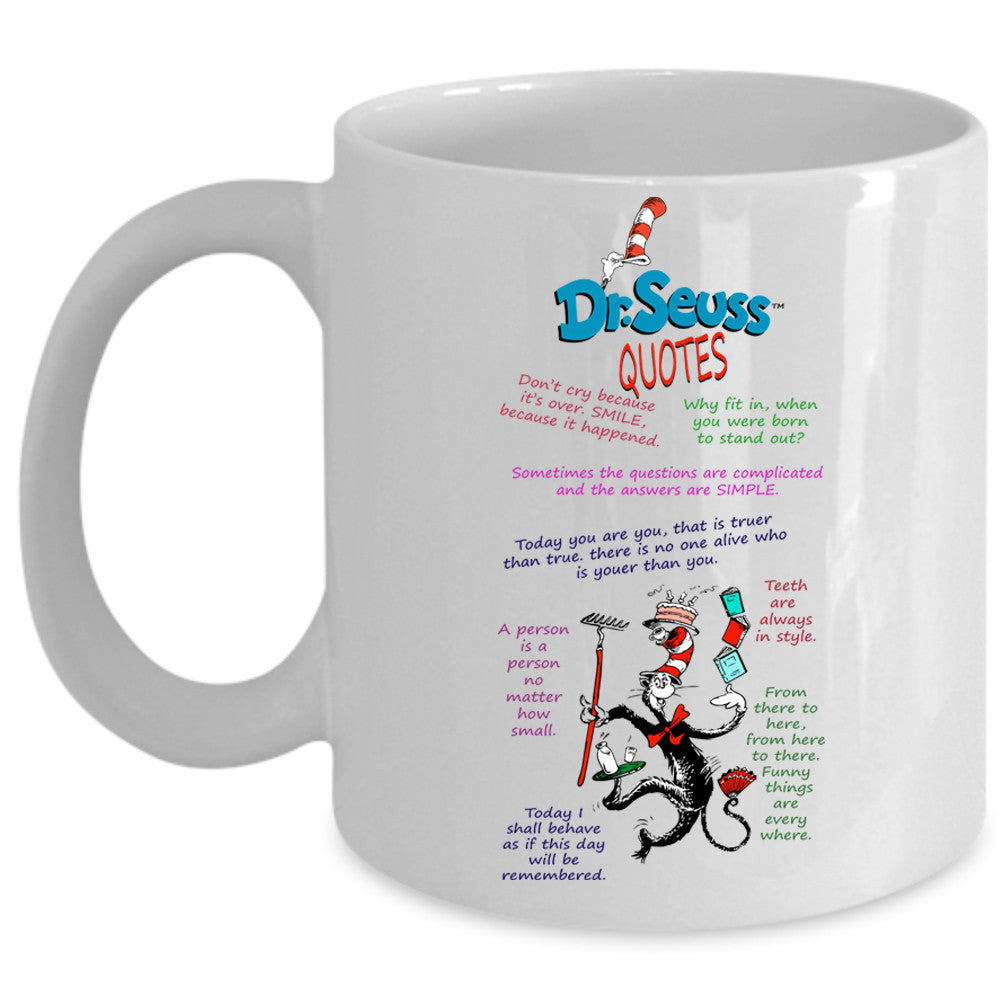 Dr. Suess Quotes Cup, Dr. Suess Mug, Funny Cat In Hat Cup ...