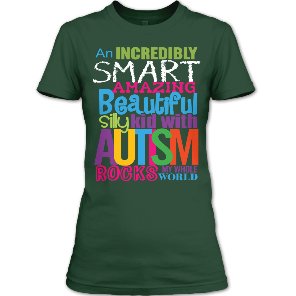 21b123586 Beautiful Silly Kid With Autism Rocks My Whole World T Shirt, Autism ...