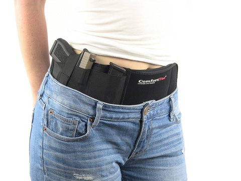 Ultimate Belly Band Holster for Concealed Carry, Black, Fits Gun Smith and Wesson Bodyguard, Glock 19, 17, 42, 43, P238, and Similar Sized Guns