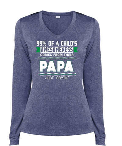 42a37f390 99% Of A Child's Awesomeness Comes From Their Papa T Shirt, Father's Day T  Shirt (Ladies LS Heather V-Neck). Funny Shirt