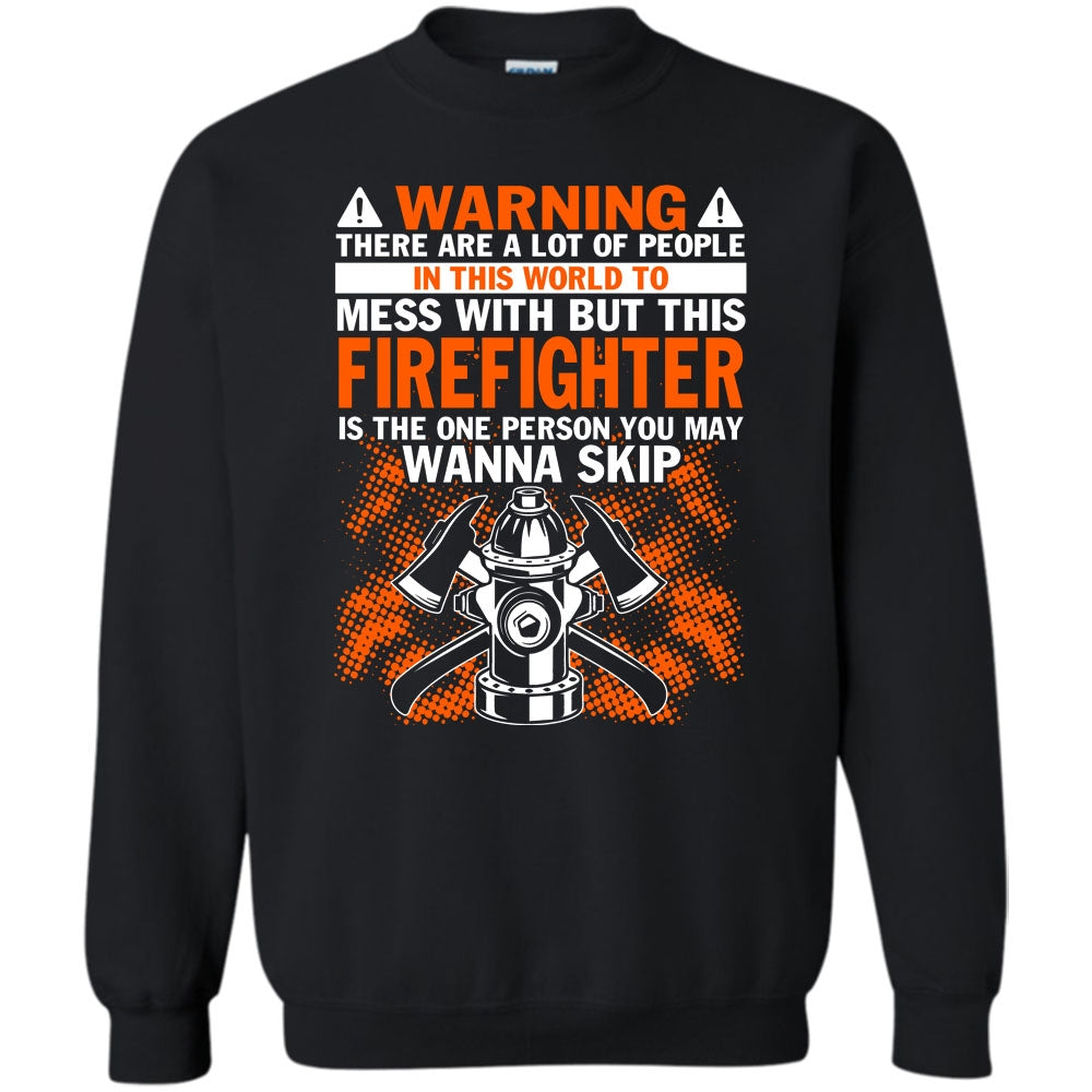 9c25bcb0f ... Funny Firefighter Sweatshirt. A black t-shirt with the shopify logo ...