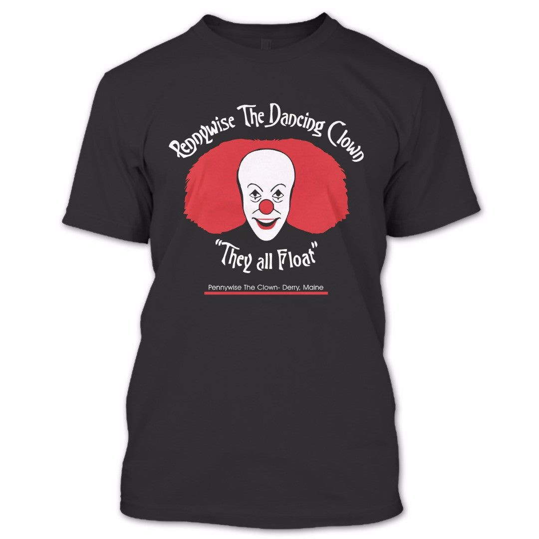they all float t shirt pennywise the dancing clown shirt bob a black t shirt the shopify logo