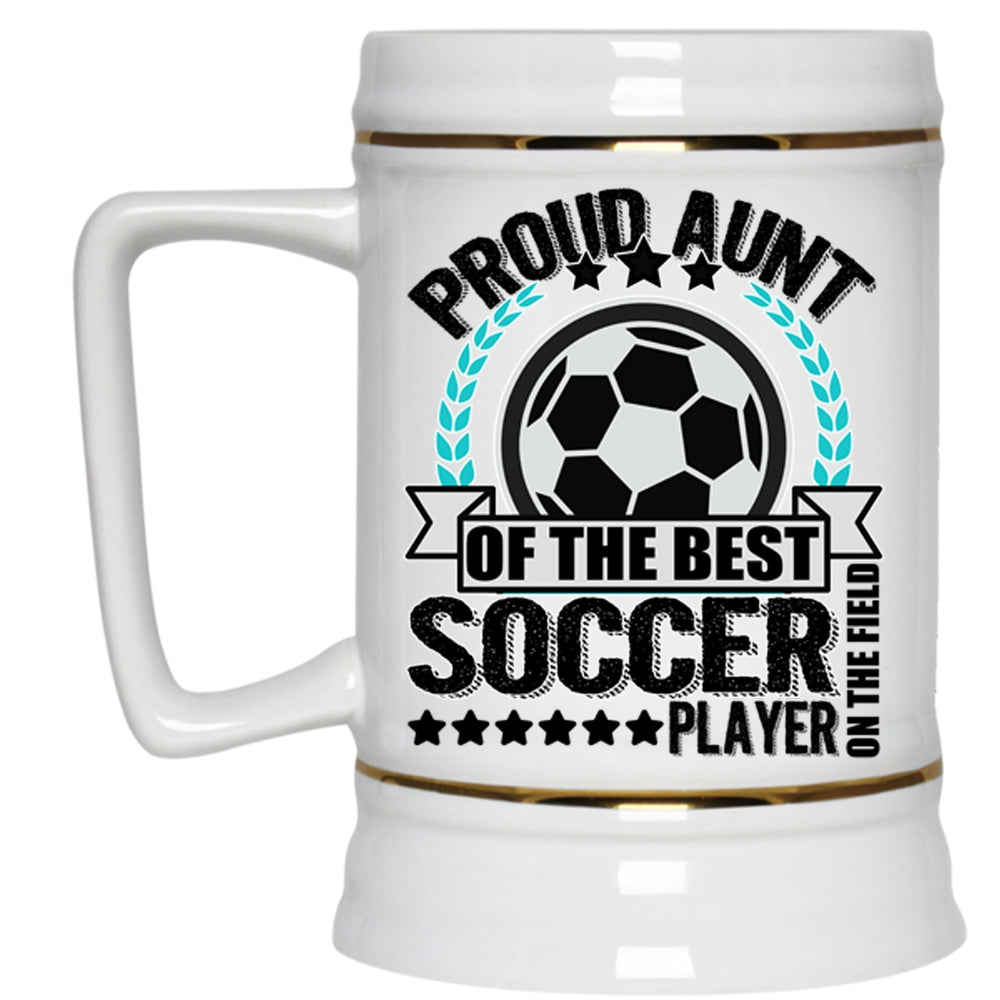 45709f86b7b ... Proud Aunt Of The Best Soccer Player Beer Mug. A black t-shirt with the  shopify logo ...