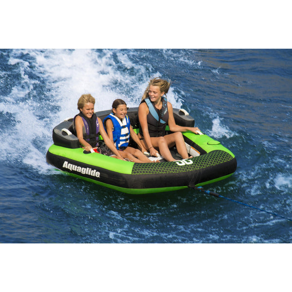 Aquaglide Towable Aquaglide Supercross 3-Person Inflatable Ski Tube with Free Towrope