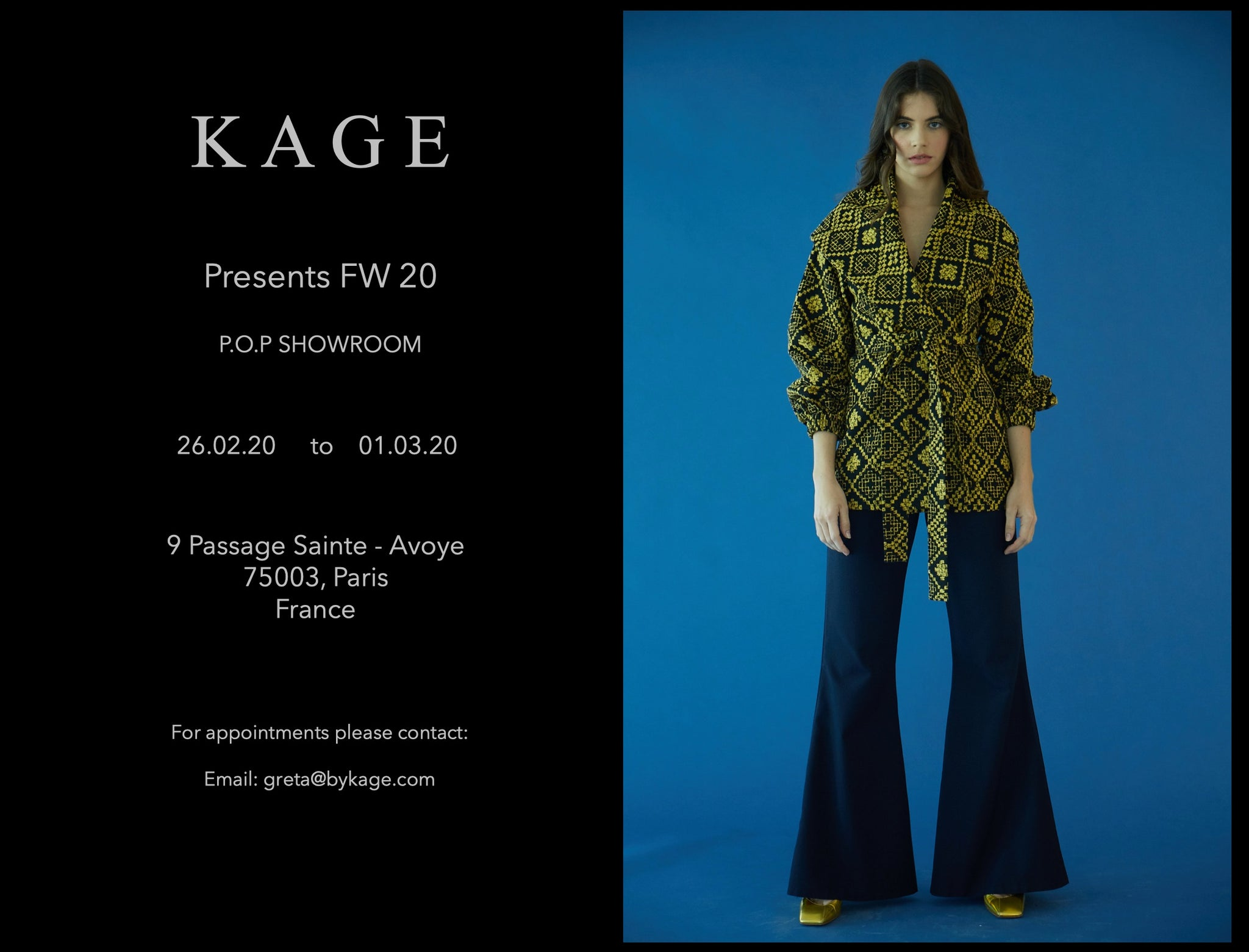 KAGE FW20 Showroom Dates