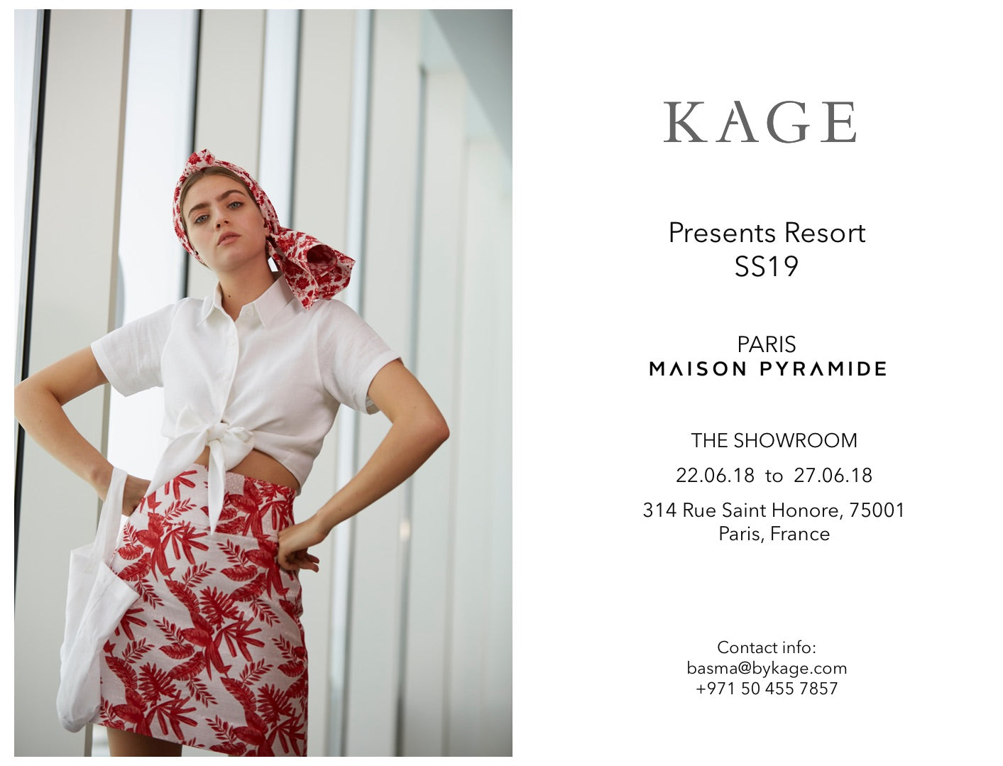 KAGE Resort SS19 showroom dates
