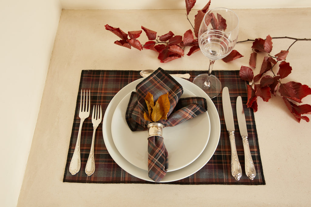 Brown Checkered Table Placemat