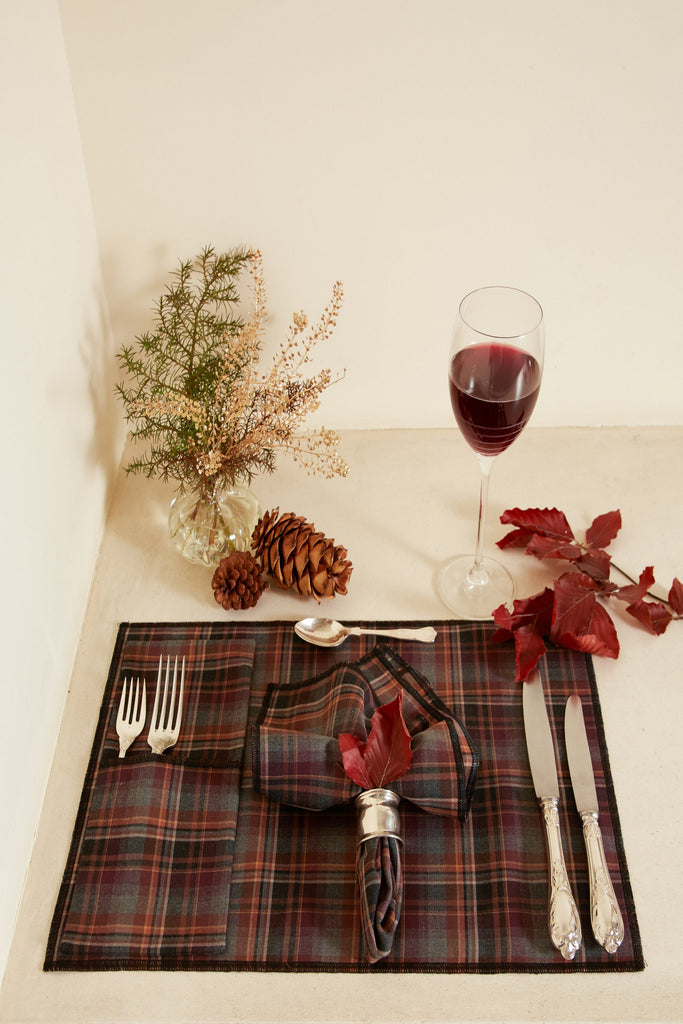 Brown Checkered Table Napkin