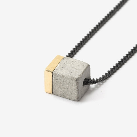 Small Concrete Cube Necklace by Bazk Berlin