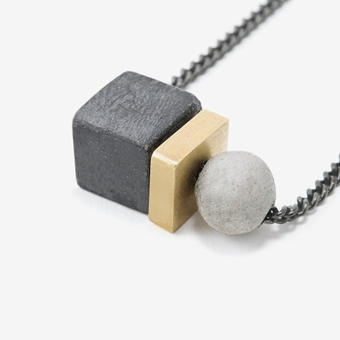 Concrete Cube and Sphere Necklace by Bazk Berlin