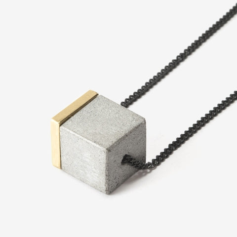 Large Concrete Cube Necklace by Bazk Berlin