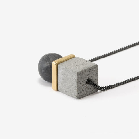 Large Concrete Sphere and Cube Necklace by Bazk Berlin