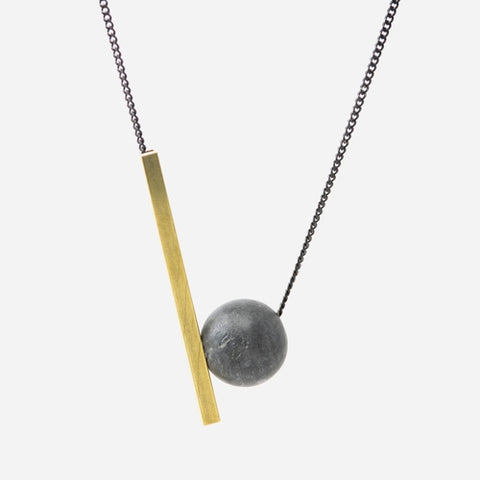 Dark Grey Sphere and Bar Necklace by Bazk Berlin