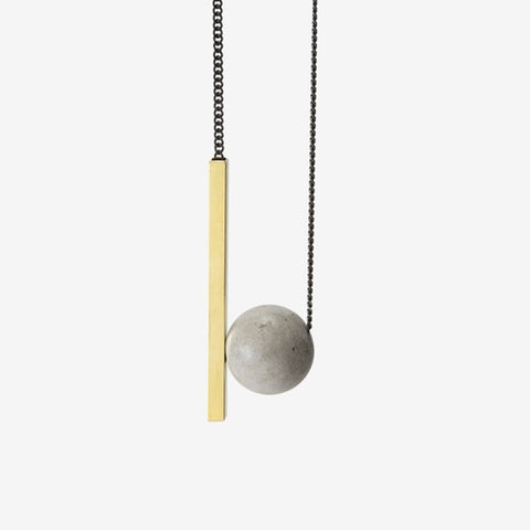 Light Grey Sphere and Bar Necklace by Bazk Berlin