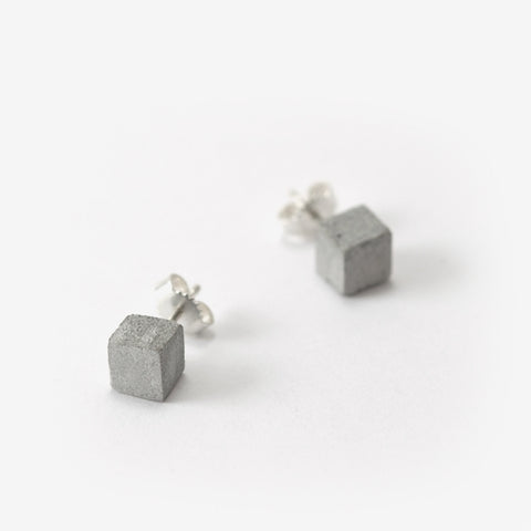 Light Grey Concrete Cube Studs by Bazk Berlin