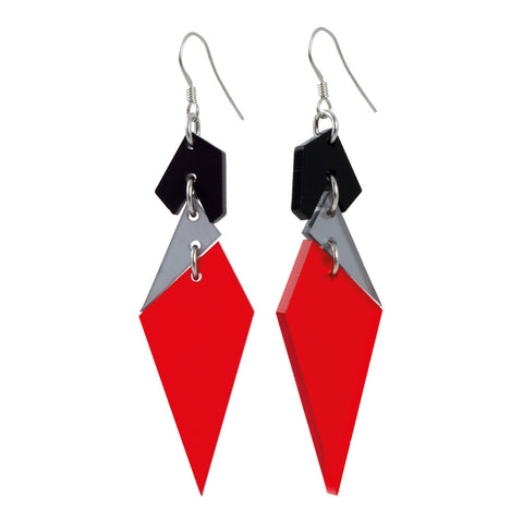 Abstract Diamond Earrings Chili Red and Grey by Toolally