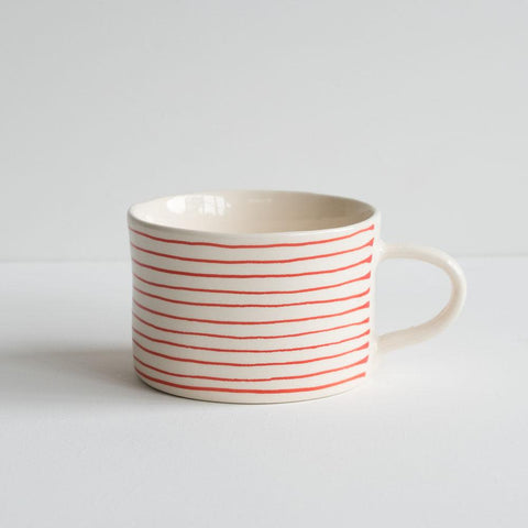 Red Thin Stripe Mug by Musango