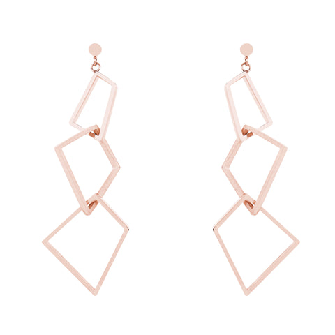 Rose Gold Geometric Drop Earrings by Esa Evans