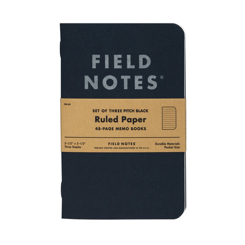 Pitch Black Ruled Memo Books (3 pack)