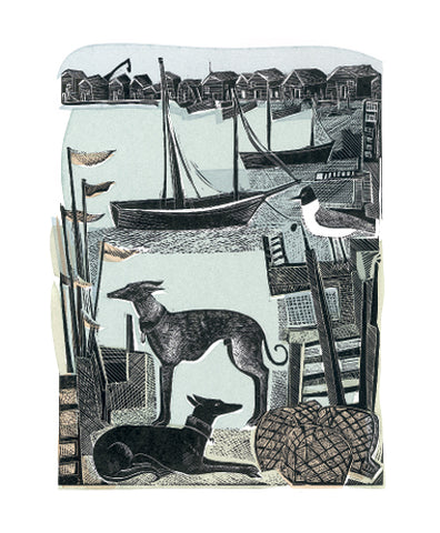 Harbour Whippets Greetings Card