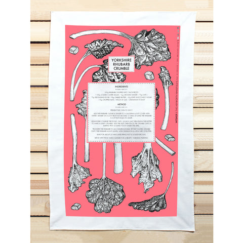 Rhubarb Recipe Tea Towel