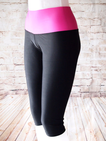 Compression Capri Pants 3/4 Length – Black and Pink - Pain Game