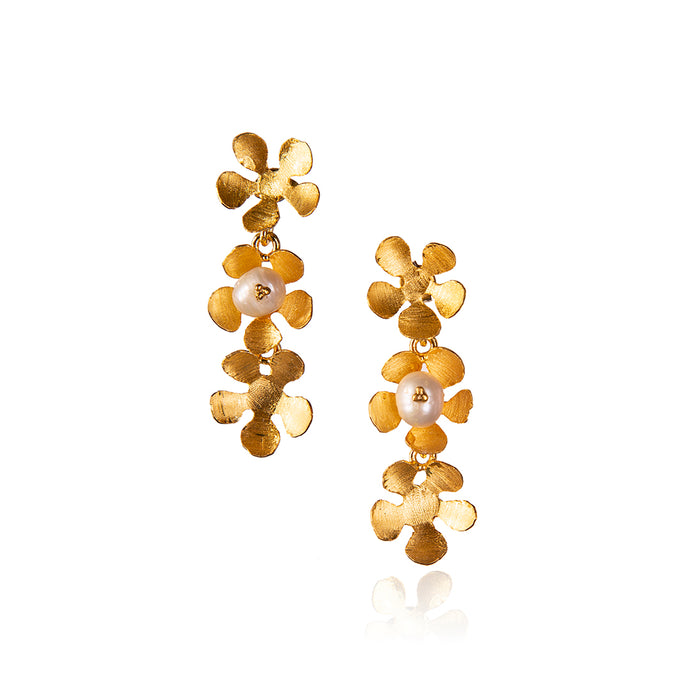 Spring Flowers Pearl Earrings