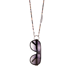 "Onyx Eyewear Necklace - Eyewear necklace comes in assorted stones and colors.  The word attached in Arabic says: ""ان غدا لناظره قريب"" which means Tomorrow is nearby if one has patience, tomorrow is another day."
