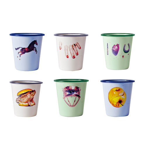 Enamel Glasses  Set of 6