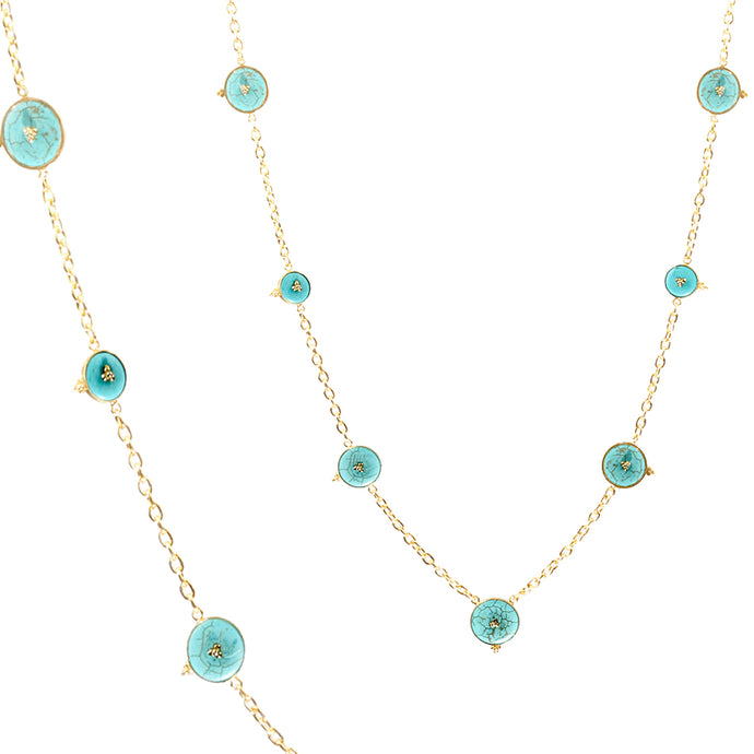 Sharqy Long Necklace - Gold-plated silver with turquoise stones
