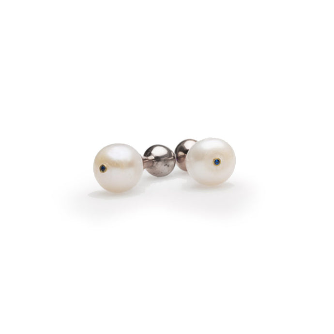 The Rhodium White Pearl Cufflink - UniqueFindz.com