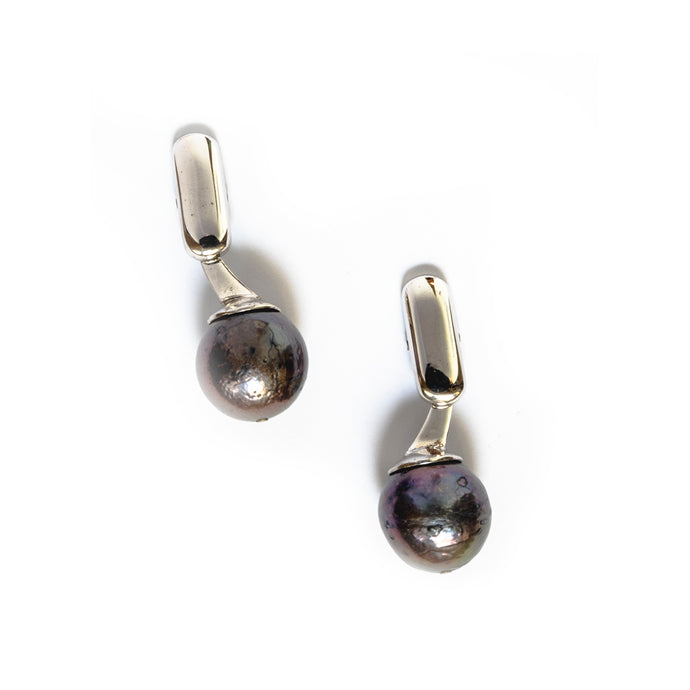 Black Circle Pearl Cufflink - UniqueFindz.com
