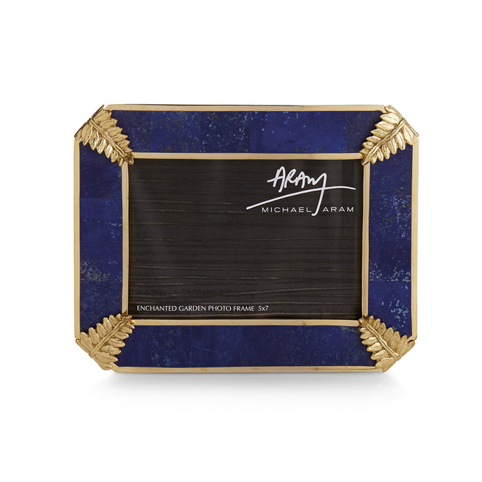 Blue & gold picture frame.