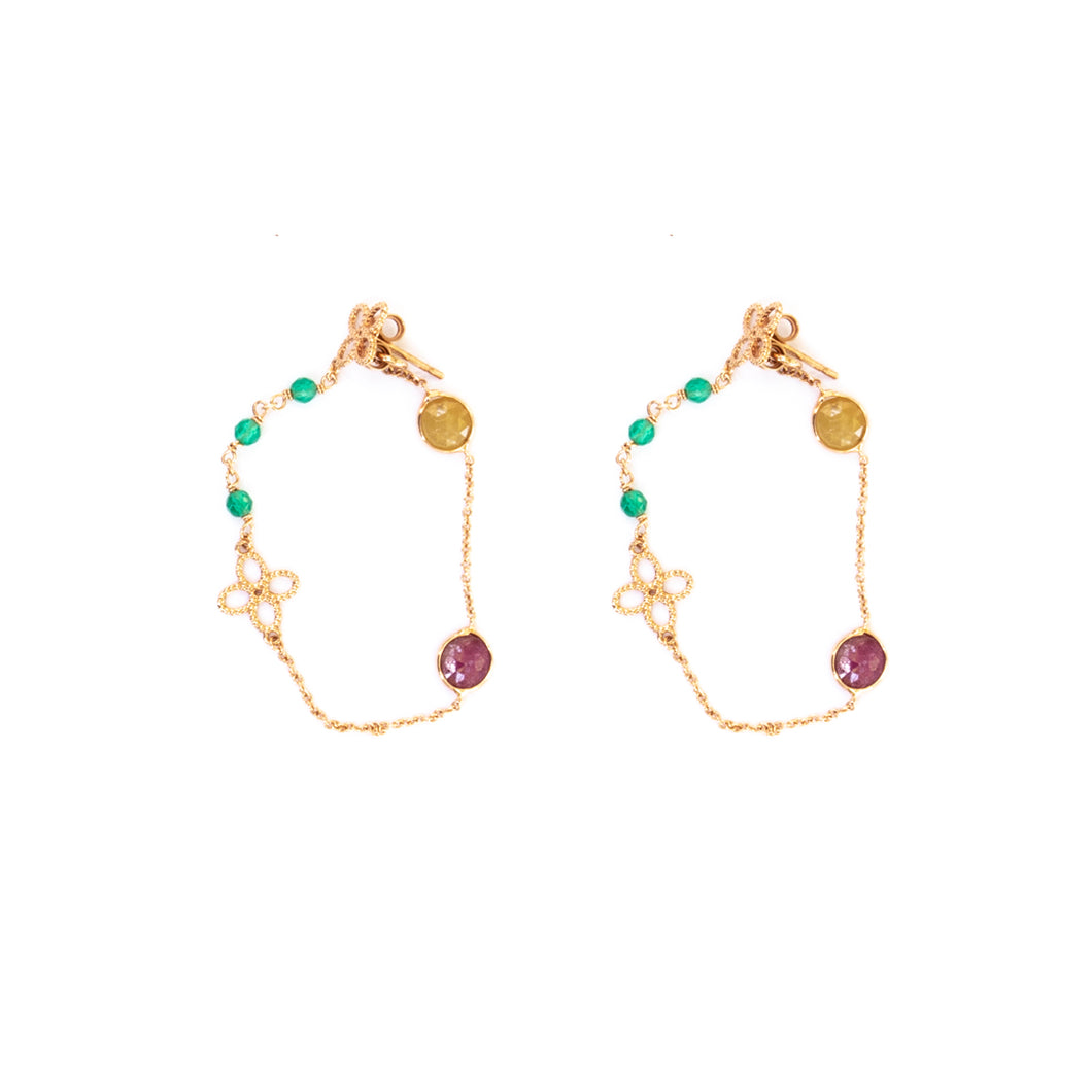 Turquoise & Maroon Earrings - UniqueFindz.com