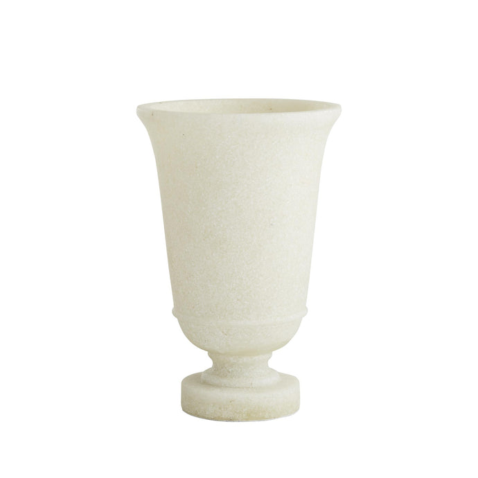 Marietta Urn - The decorative piece is a modern take on an 18th-century French design, updated with clean lines and a soft, faux marble finish.   It pairs perfectly with the Miranda Urn, available in our site.   -   Size: 15.24 x 24.13 cm