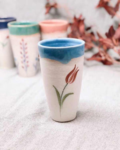 FLORIST BABY BLUE FLOWER CUP-MUG TALL