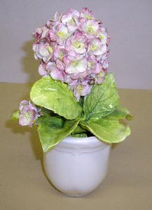 Pot with Flowers Cup Base - Pot with Flowers Cup Base Hydrangea with Bud- Pink  Dimensions 8.7 x 8.7 9.7 CM