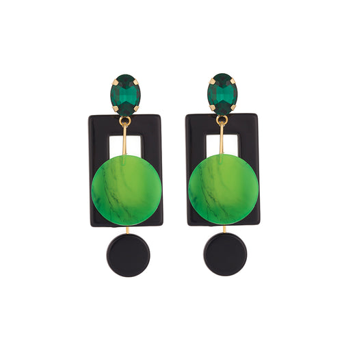 Green Geo Earrings